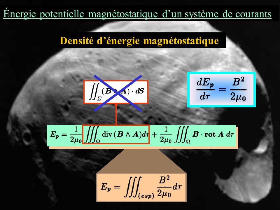 Énergie potentielle magnétostatique dun système de courants Densité dénergie magnétostatique Le domaine dintégration peut être étendu à lespace entier (disons à une sphère de rayon R tendant vers linfini et qui inglobe ): il suffit de prolonger j par un champ de vecteurs partout nul hors de.