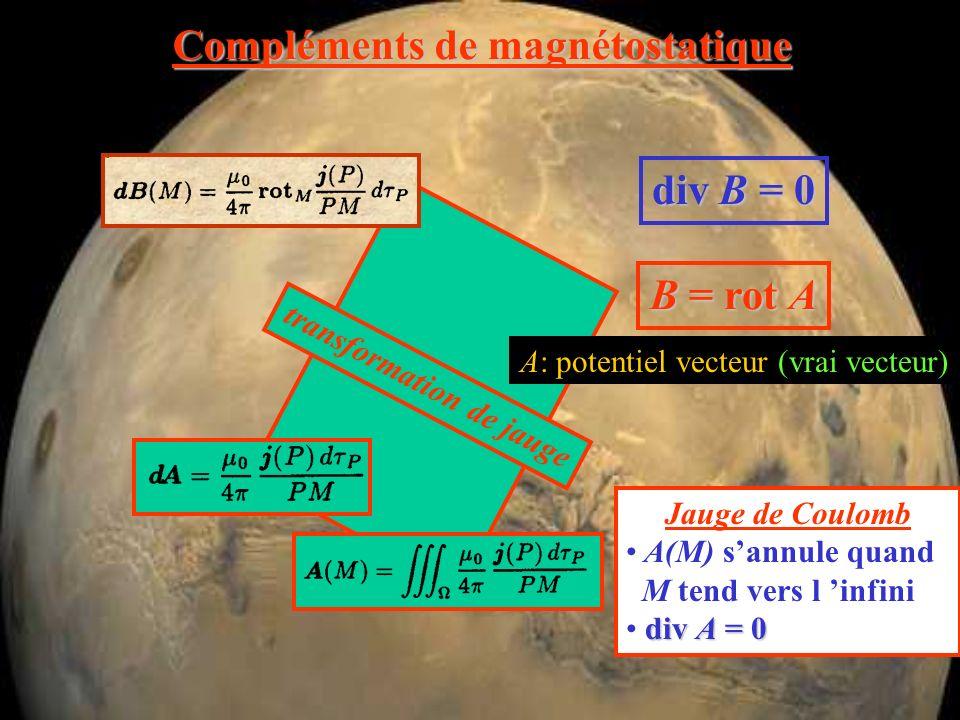 Compléments de magnétostatique div B = 0 B = rot A A: potentiel vecteur (vrai vecteur)