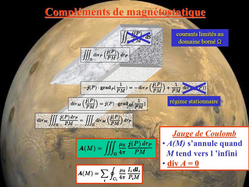 Compléments de magnétostatique transformation de jauge Jauge de Coulomb A(M) sannule quand M tend vers l infini div A = 0 div B = 0 B = rot A A: potentiel vecteur (vrai vecteur)