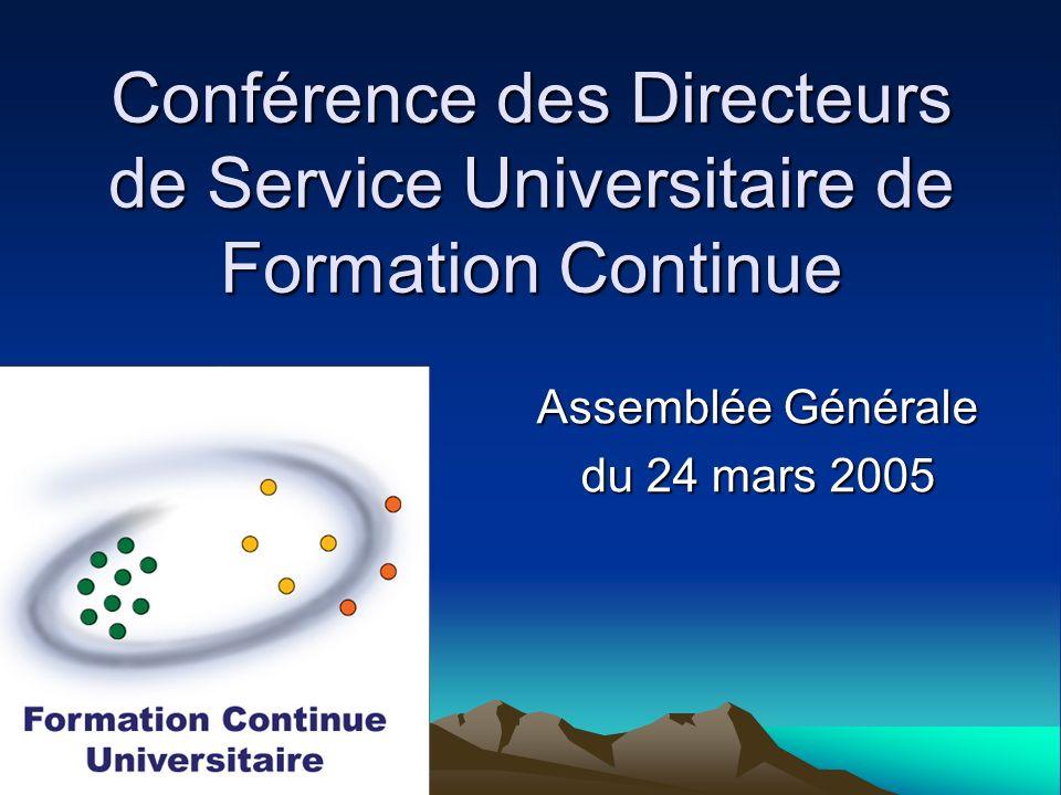 Ordre du jour (matin) Vie de lAssociation Informations générales Colloque CPU International Certification FOAD Enquête formation Colloque CDSUFC Poitiers Colloque DAEU Site Web