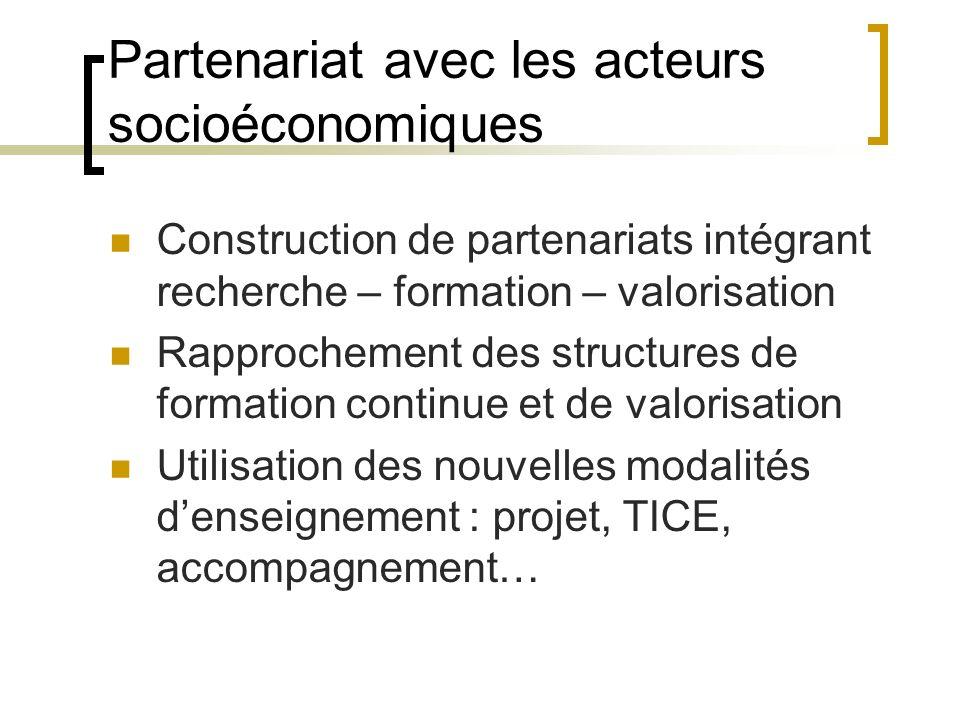 Partenariat avec les acteurs socioéconomiques Construction de partenariats intégrant recherche – formation – valorisation Rapprochement des structures