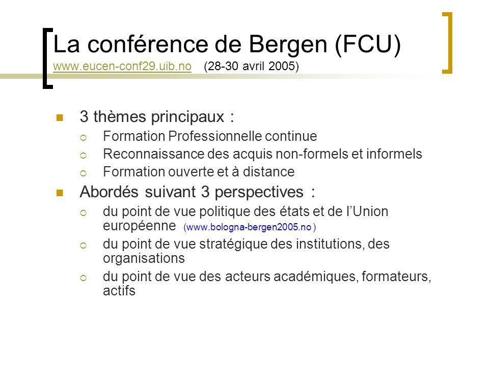 La conférence de Bergen (FCU) www.eucen-conf29.uib.no (28-30 avril 2005) www.eucen-conf29.uib.no 3 thèmes principaux : Formation Professionnelle continue Reconnaissance des acquis non-formels et informels Formation ouverte et à distance Abordés suivant 3 perspectives : du point de vue politique des états et de lUnion européenne (www.bologna-bergen2005.no ) du point de vue stratégique des institutions, des organisations du point de vue des acteurs académiques, formateurs, actifs