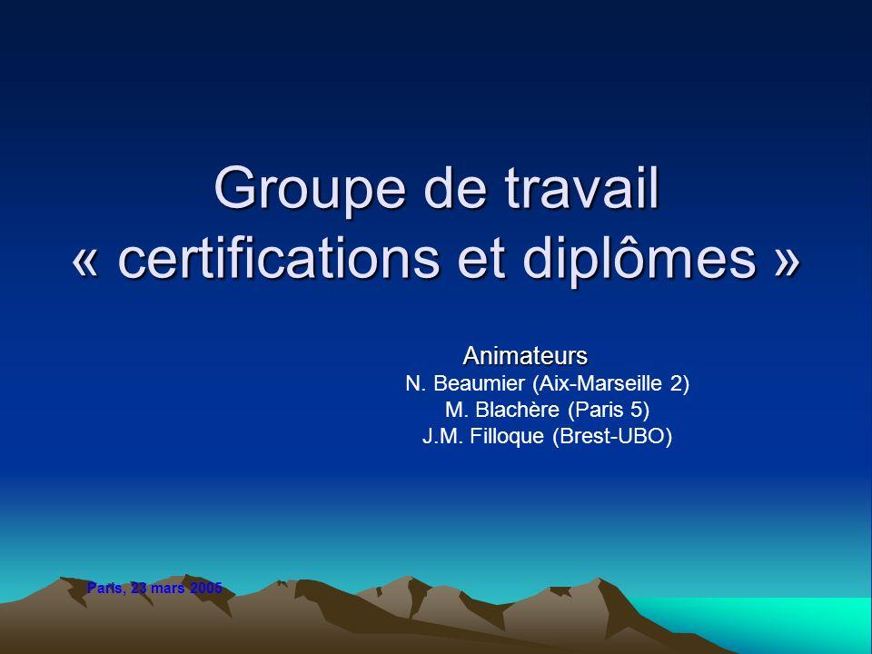 Groupe de travail « certifications et diplômes » Animateurs N. Beaumier (Aix-Marseille 2) M. Blachère (Paris 5) J.M. Filloque (Brest-UBO) Paris, 23 ma