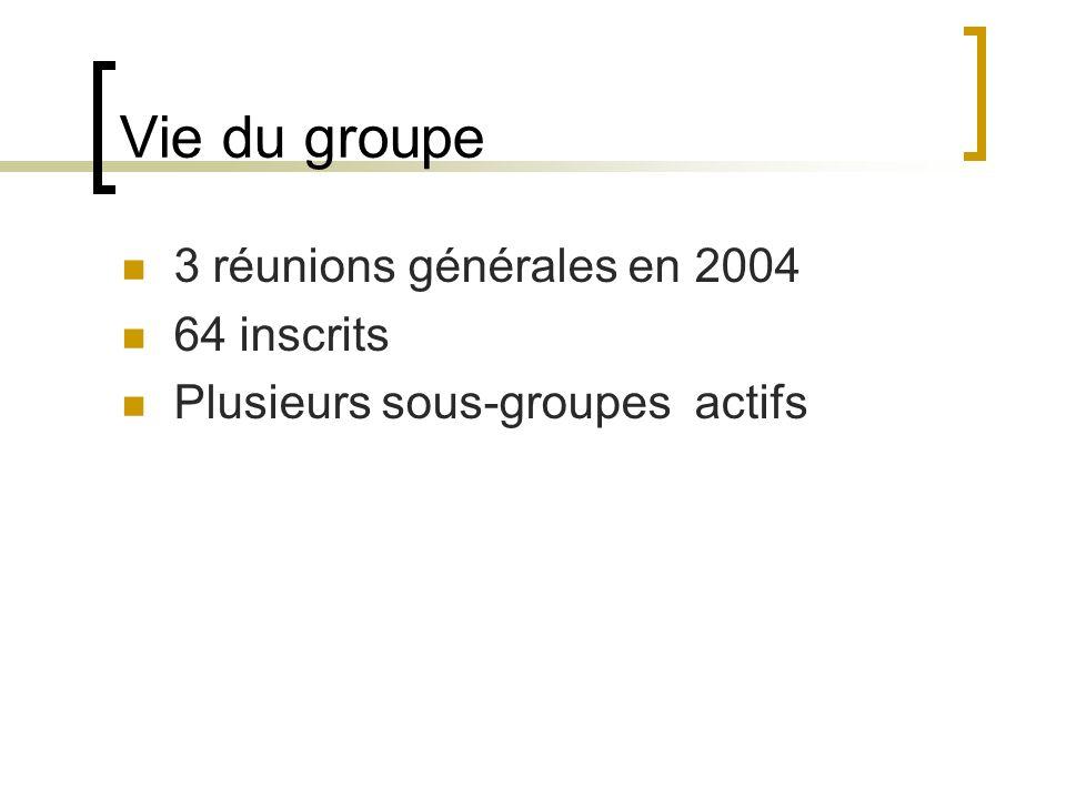 Vie du groupe 3 réunions générales en 2004 64 inscrits Plusieurs sous-groupes actifs