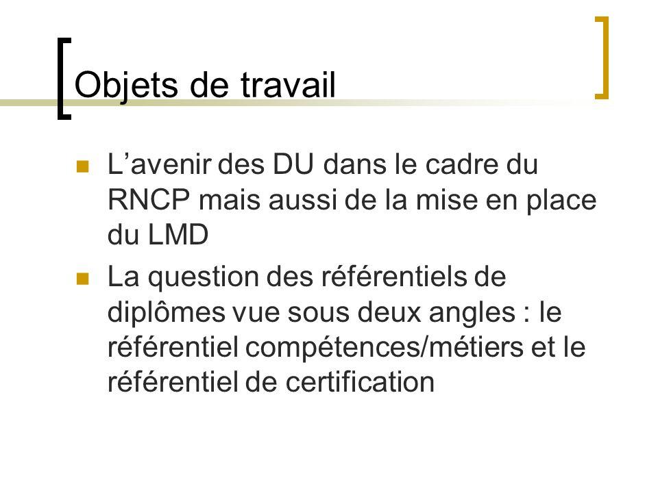 Objets de travail Lavenir des DU dans le cadre du RNCP mais aussi de la mise en place du LMD La question des référentiels de diplômes vue sous deux angles : le référentiel compétences/métiers et le référentiel de certification