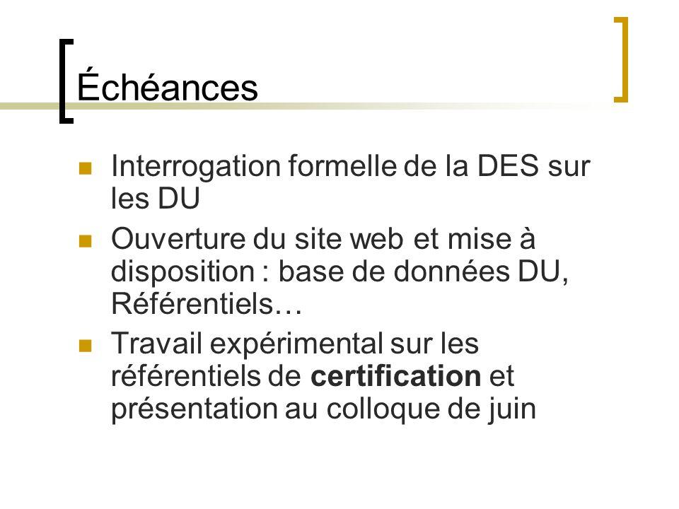 Échéances Interrogation formelle de la DES sur les DU Ouverture du site web et mise à disposition : base de données DU, Référentiels… Travail expérimental sur les référentiels de certification et présentation au colloque de juin