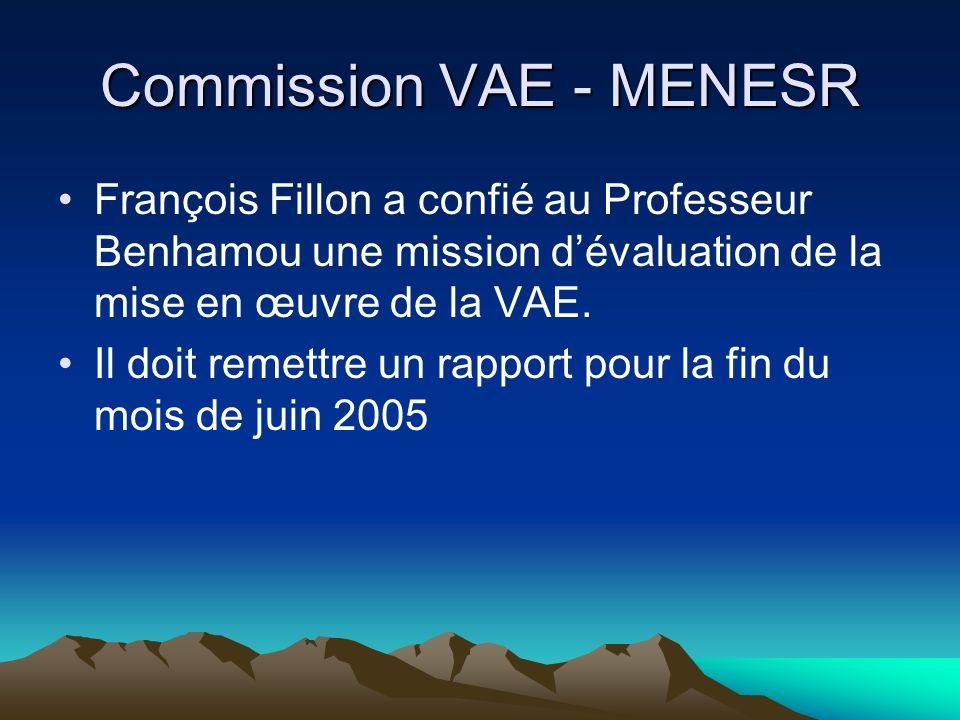 Commission VAE - MENESR François Fillon a confié au Professeur Benhamou une mission dévaluation de la mise en œuvre de la VAE. Il doit remettre un rap