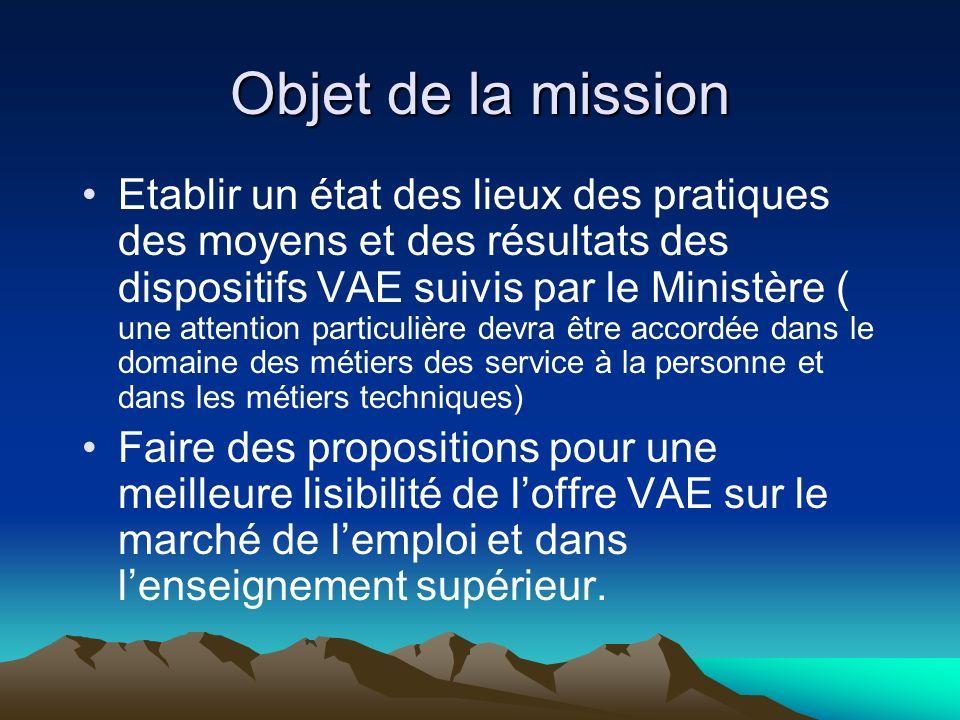 Objet de la mission Etablir un état des lieux des pratiques des moyens et des résultats des dispositifs VAE suivis par le Ministère ( une attention pa