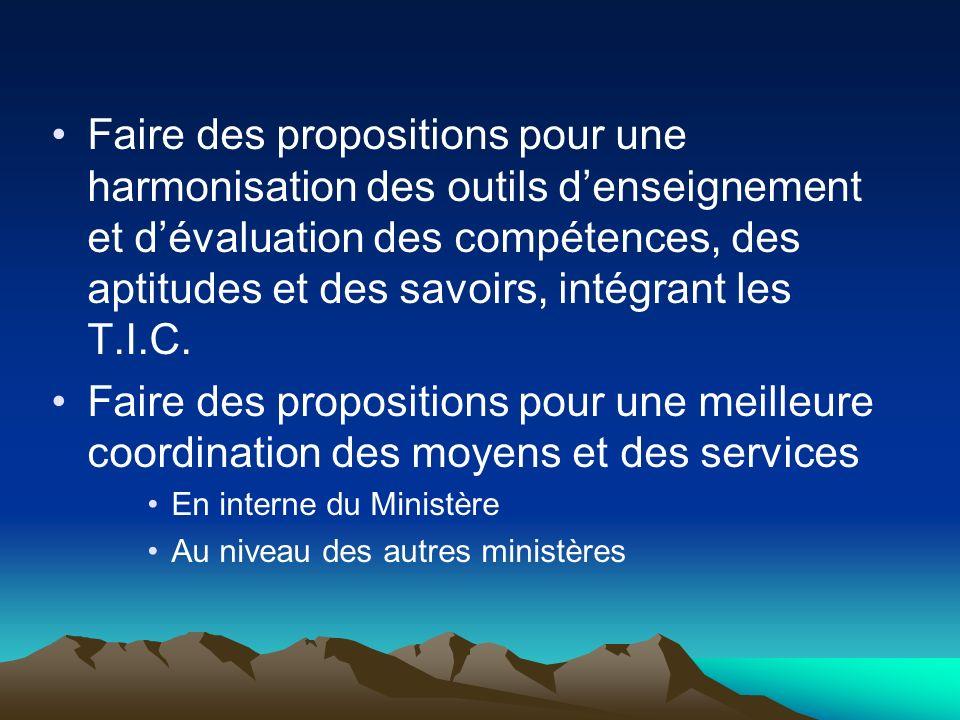 Faire des propositions pour une harmonisation des outils denseignement et dévaluation des compétences, des aptitudes et des savoirs, intégrant les T.I