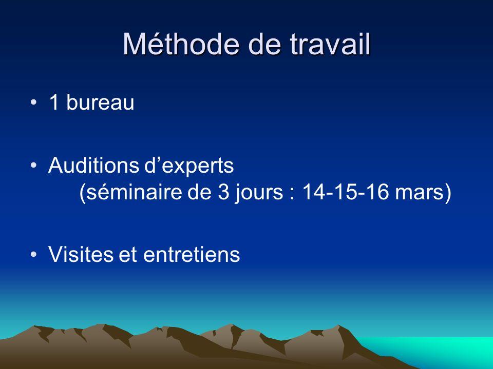 Méthode de travail 1 bureau Auditions dexperts (séminaire de 3 jours : 14-15-16 mars) Visites et entretiens