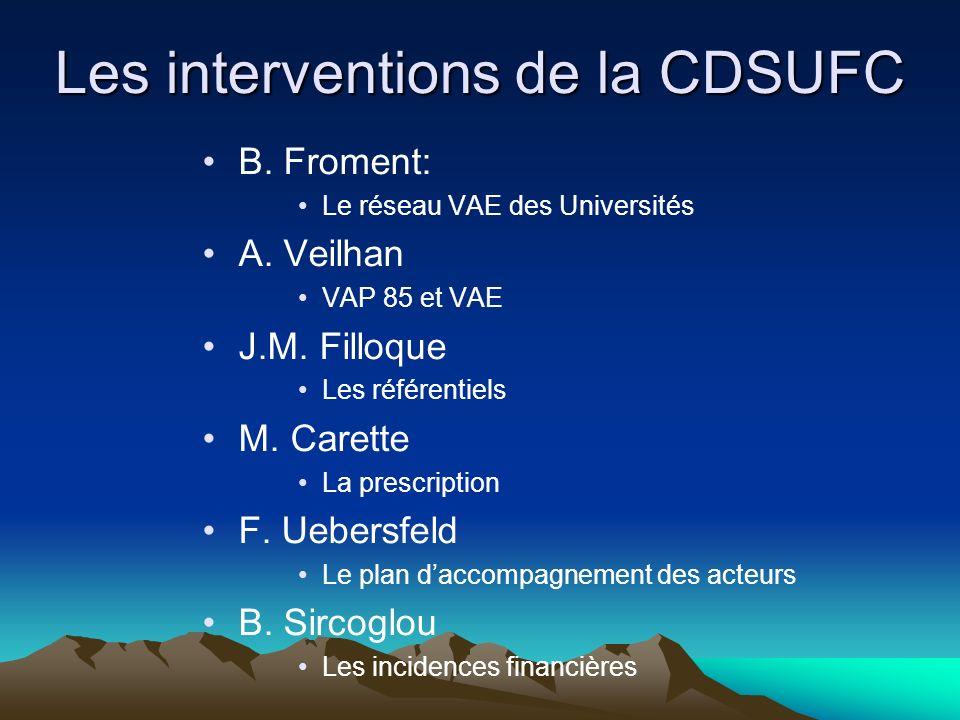 Les interventions de la CDSUFC B. Froment: Le réseau VAE des Universités A. Veilhan VAP 85 et VAE J.M. Filloque Les référentiels M. Carette La prescri