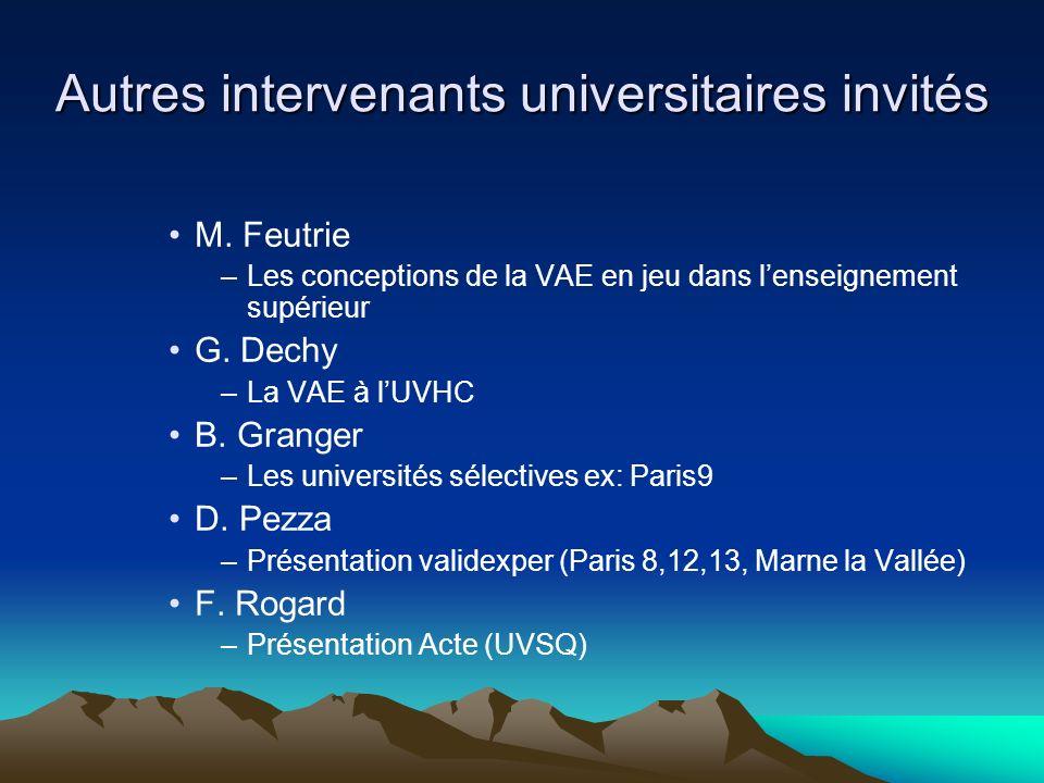Autres intervenants universitaires invités M. Feutrie –Les conceptions de la VAE en jeu dans lenseignement supérieur G. Dechy –La VAE à lUVHC B. Grang