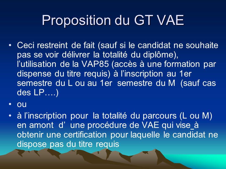 Proposition du GT VAE Ceci restreint de fait (sauf si le candidat ne souhaite pas se voir délivrer la totalité du diplôme), lutilisation de la VAP85 (accès à une formation par dispense du titre requis) à linscription au 1er semestre du L ou au 1er semestre du M (sauf cas des LP….) ou à linscription pour la totalité du parcours (L ou M) en amont d une procédure de VAE qui vise à obtenir une certification pour laquelle le candidat ne dispose pas du titre requis