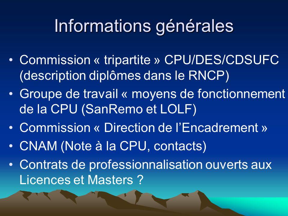 Informations générales Commission « tripartite » CPU/DES/CDSUFC (description diplômes dans le RNCP) Groupe de travail « moyens de fonctionnement de la CPU (SanRemo et LOLF) Commission « Direction de lEncadrement » CNAM (Note à la CPU, contacts) Contrats de professionnalisation ouverts aux Licences et Masters ?