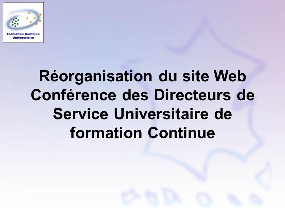 Réorganisation du site Web Conférence des Directeurs de Service Universitaire de formation Continue