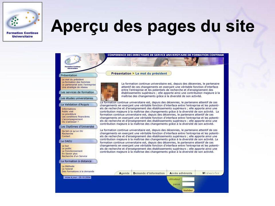 Aperçu des pages du site