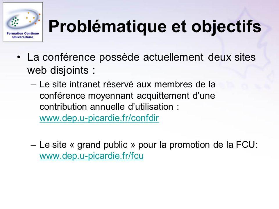 La conférence possède actuellement deux sites web disjoints : –Le site intranet réservé aux membres de la conférence moyennant acquittement dune contribution annuelle dutilisation : www.dep.u-picardie.fr/confdir www.dep.u-picardie.fr/confdir –Le site « grand public » pour la promotion de la FCU: www.dep.u-picardie.fr/fcu www.dep.u-picardie.fr/fcu