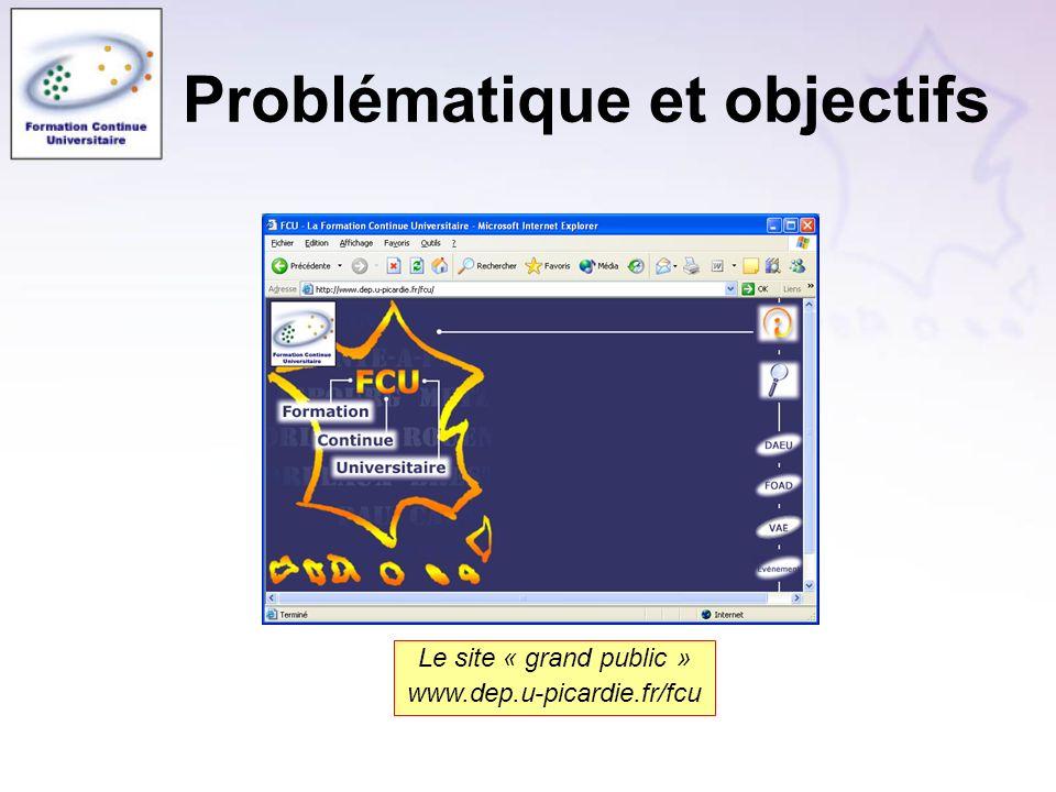 Problématique et objectifs Le site « grand public » www.dep.u-picardie.fr/fcu