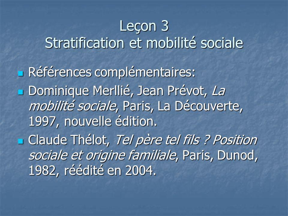 Leçon 3 Stratification et mobilité sociale Références complémentaires: Références complémentaires: Dominique Merllié, Jean Prévot, La mobilité sociale