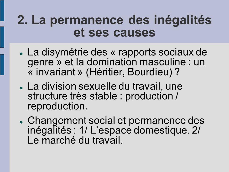 2. La permanence des inégalités et ses causes La disymétrie des « rapports sociaux de genre » et la domination masculine : un « invariant » (Héritier,