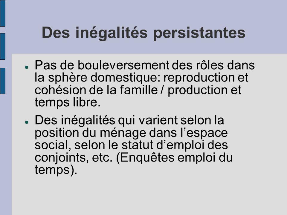 Des inégalités persistantes Pas de bouleversement des rôles dans la sphère domestique: reproduction et cohésion de la famille / production et temps libre.