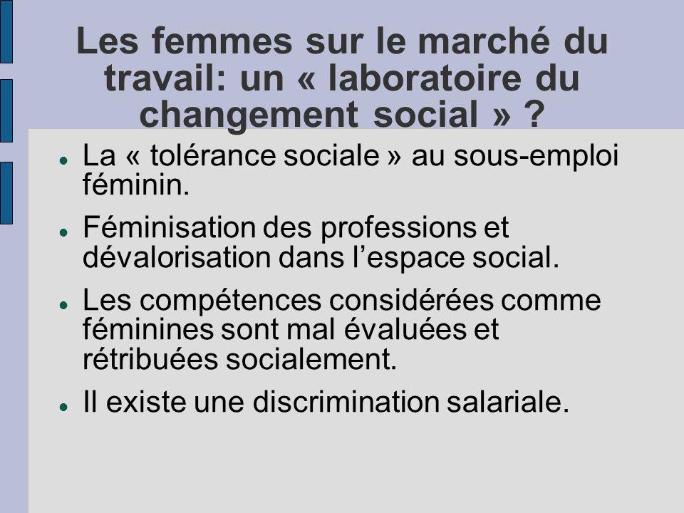 Les femmes sur le marché du travail: un « laboratoire du changement social » .
