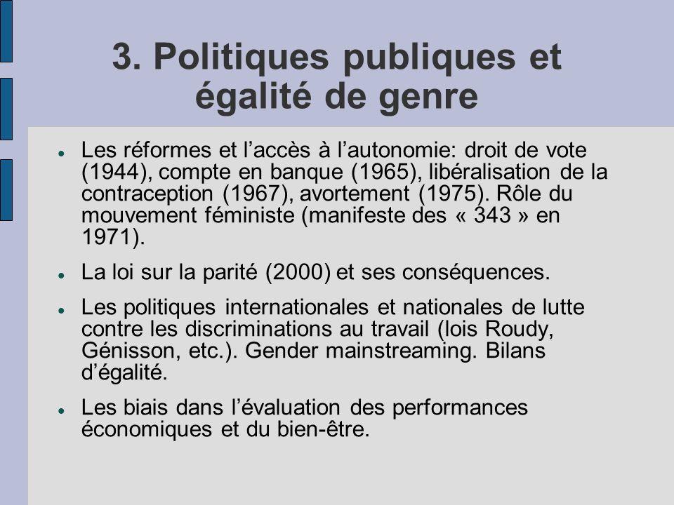 3. Politiques publiques et égalité de genre Les réformes et laccès à lautonomie: droit de vote (1944), compte en banque (1965), libéralisation de la c