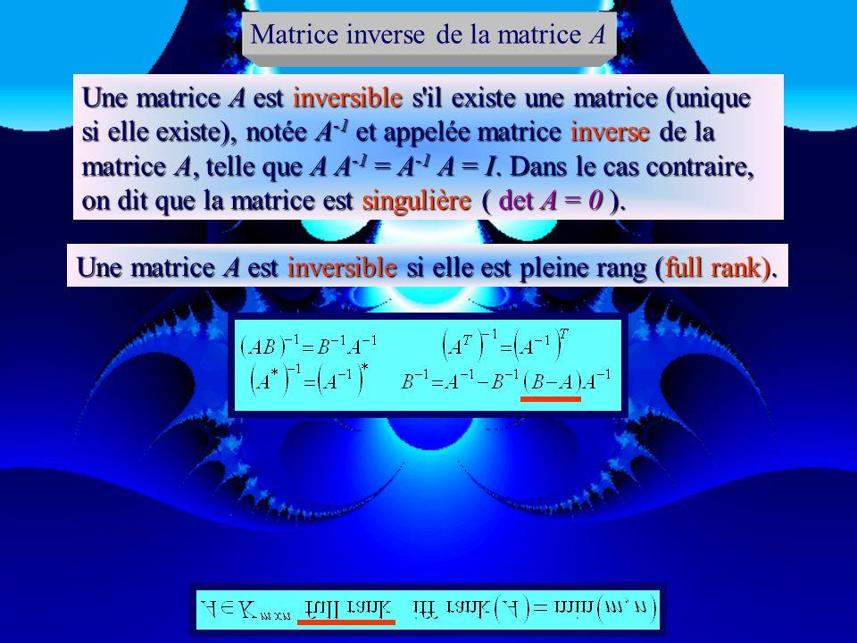 det A 0 Rang de la matrice A