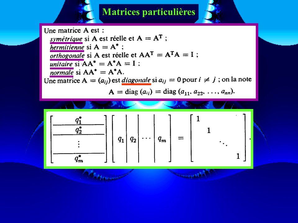 Matrice inverse de la matrice A Une matrice A est inversible s'il existe une matrice (unique si elle existe), notée A-1 et appelée matrice inverse de