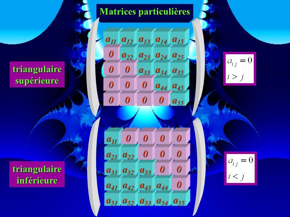 0 0 Matrices particulières 00 a 54 a 55 0 a 43 a 44 a 45 0 a 32 a 33 a 34 0 a 21 a 22 a 23 00 a 11 a 12 000 tridiagonale 0 0 0 a 53 a 54 a 55 a 42 a 4