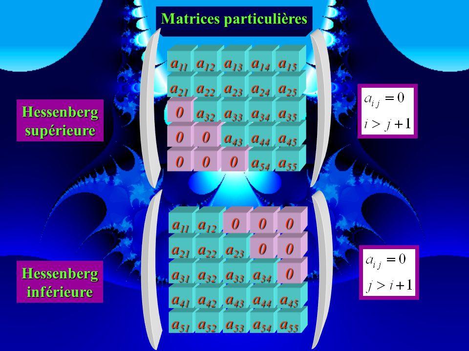 0 0 Matrices particulières 000 a 55 00 a 44 a 45 00 a 33 a 34 a 35 0 a 22 a 23 a 24 a 25 a 11 a 12 a 13 a 14 a 15 triangulairesupérieure a 51 a 41 a 5