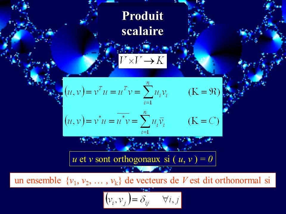 Produit scalaire u et v sont orthogonaux si ( u, v ) = 0 un ensemble {v 1, v 2, …, v k } de vecteurs de V est dit orthonormal si