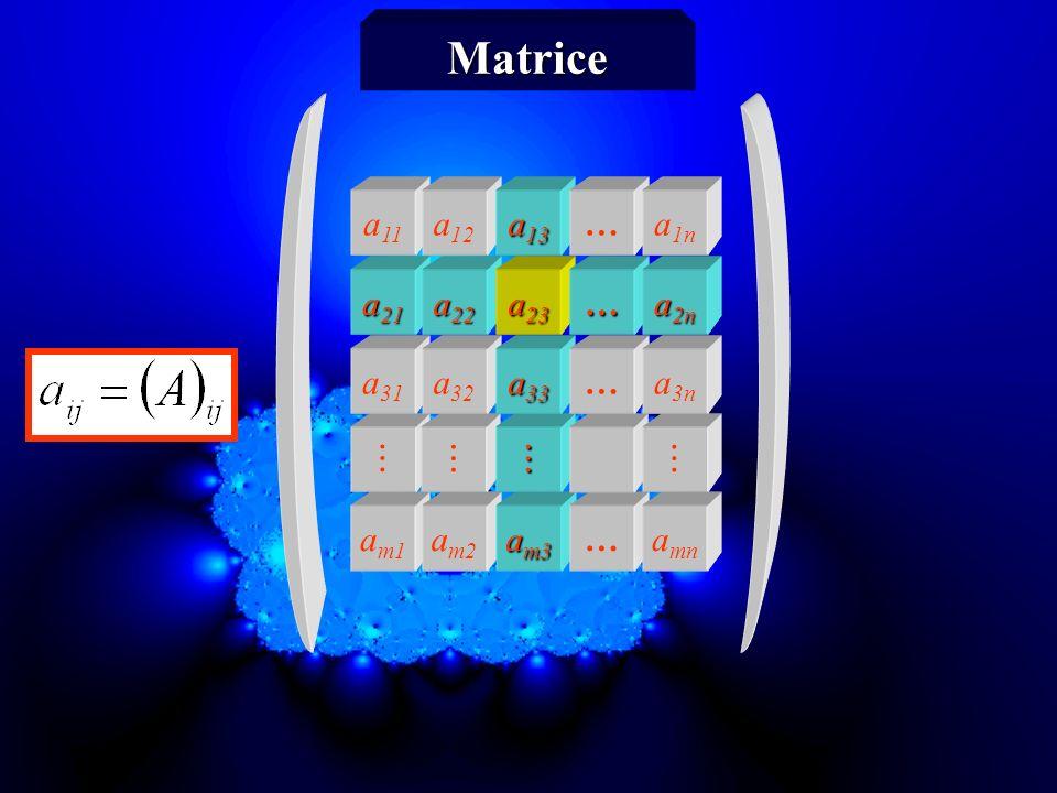 a m1 a m2 a m3 … a mn a 31 a 32 a 33 … a 3n a 21 a 22 a 23 … a 2n a 11 a 12 a 13 … a 1n Matrice n colonnes