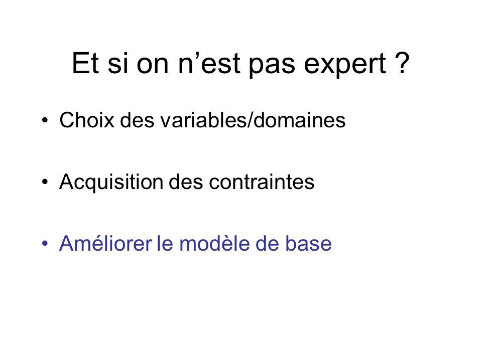 Et si on nest pas expert ? Choix des variables/domaines Acquisition des contraintes Améliorer le modèle de base
