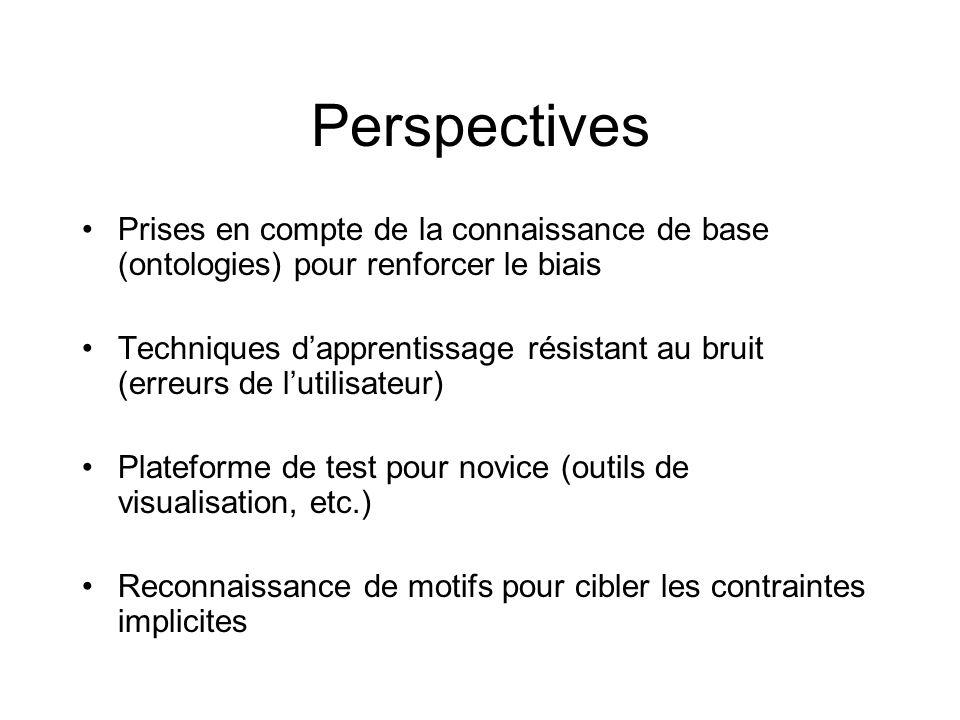 Perspectives Prises en compte de la connaissance de base (ontologies) pour renforcer le biais Techniques dapprentissage résistant au bruit (erreurs de