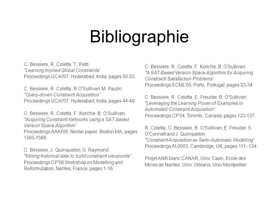 Bibliographie C. Bessiere, R. Coletta, T. Petit.