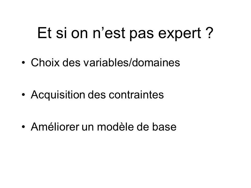 Et si on nest pas expert ? Choix des variables/domaines Acquisition des contraintes Améliorer un modèle de base