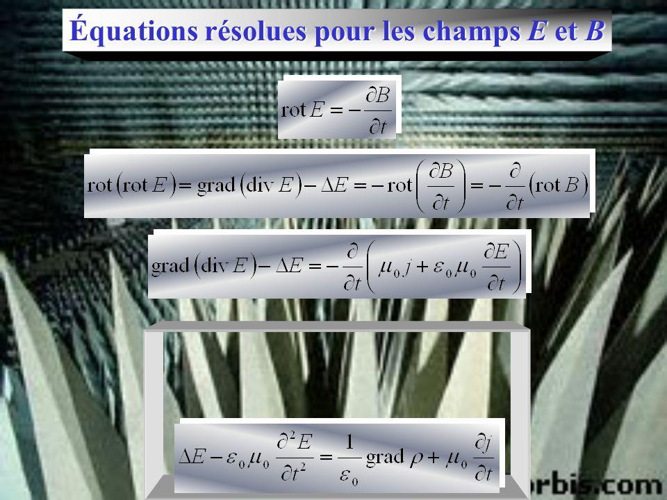 Équations résolues pour les champs E et B