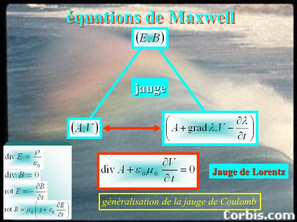 équations de Maxwell jauge Au niveau des phénomènes observables, il y a invariance de jauge.