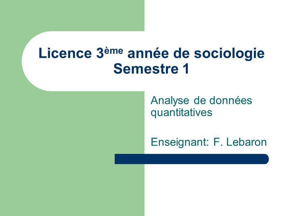 Licence 3 ème année de sociologie Semestre 1 Analyse de données quantitatives Enseignant: F. Lebaron