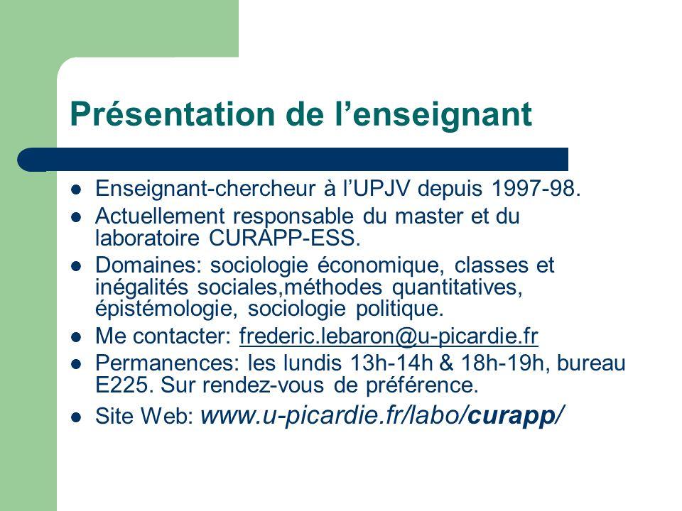 Présentation de lenseignant Enseignant-chercheur à lUPJV depuis 1997-98. Actuellement responsable du master et du laboratoire CURAPP-ESS. Domaines: so
