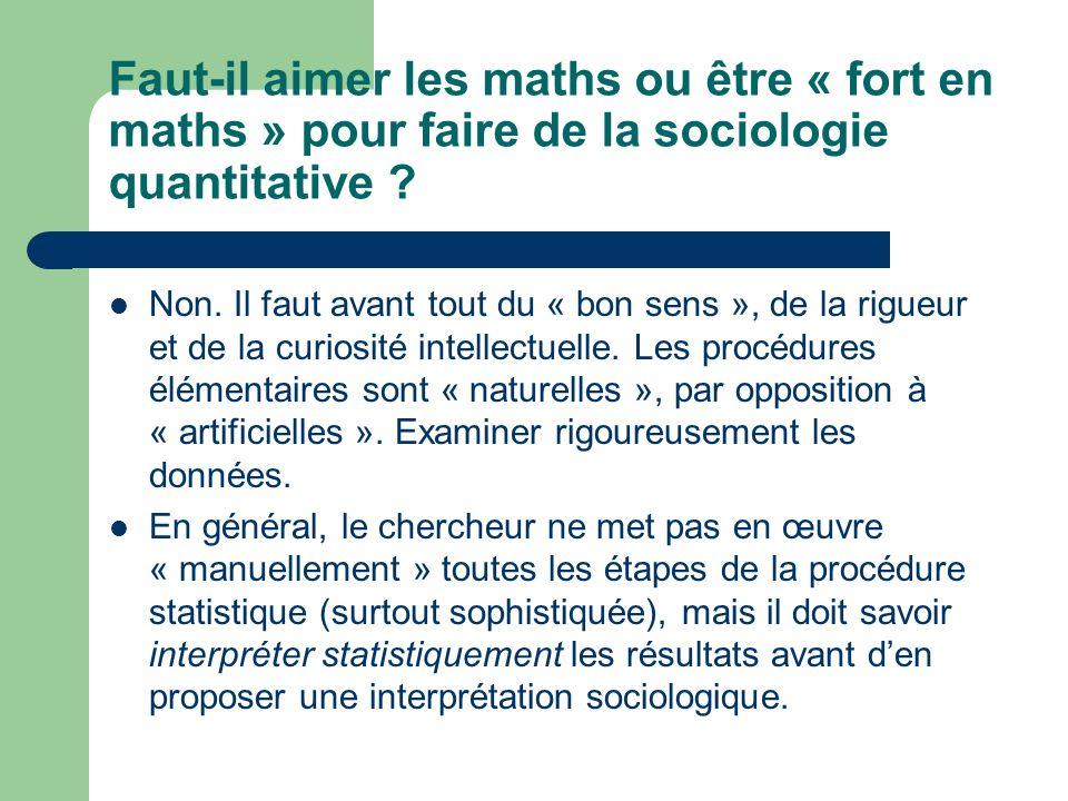 Faut-il aimer les maths ou être « fort en maths » pour faire de la sociologie quantitative ? Non. Il faut avant tout du « bon sens », de la rigueur et