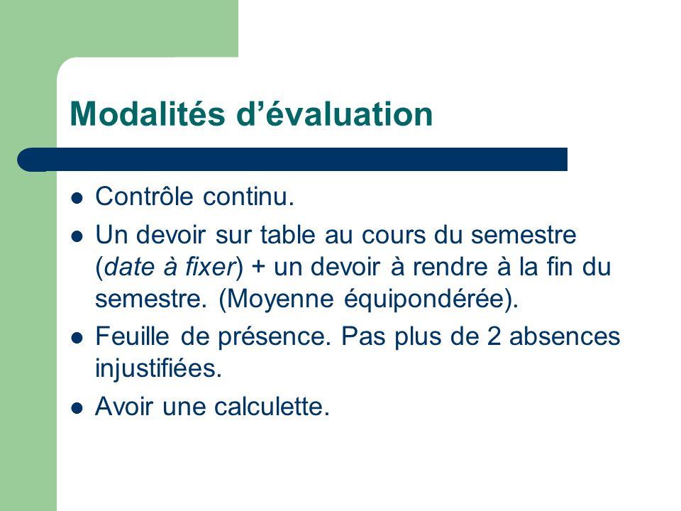 Modalités dévaluation Contrôle continu. Un devoir sur table au cours du semestre (date à fixer) + un devoir à rendre à la fin du semestre. (Moyenne éq