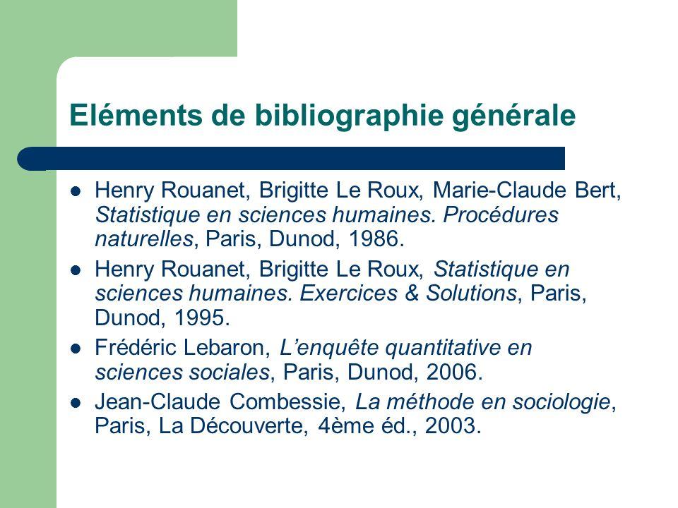 Eléments de bibliographie générale Henry Rouanet, Brigitte Le Roux, Marie-Claude Bert, Statistique en sciences humaines. Procédures naturelles, Paris,