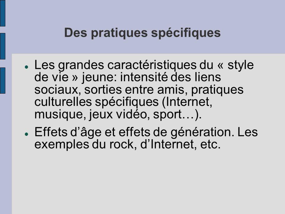 Des pratiques spécifiques Les grandes caractéristiques du « style de vie » jeune: intensité des liens sociaux, sorties entre amis, pratiques culturelles spécifiques (Internet, musique, jeux vidéo, sport…).