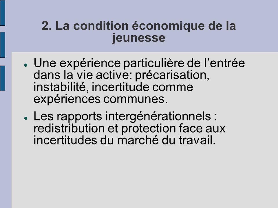 2. La condition économique de la jeunesse Une expérience particulière de lentrée dans la vie active: précarisation, instabilité, incertitude comme exp