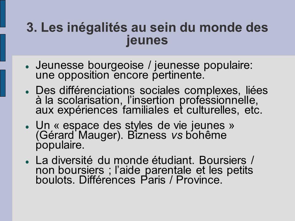 3. Les inégalités au sein du monde des jeunes Jeunesse bourgeoise / jeunesse populaire: une opposition encore pertinente. Des différenciations sociale
