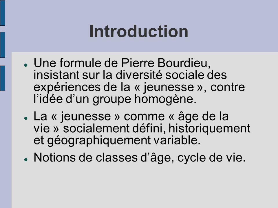 Introduction Une formule de Pierre Bourdieu, insistant sur la diversité sociale des expériences de la « jeunesse », contre lidée dun groupe homogène.