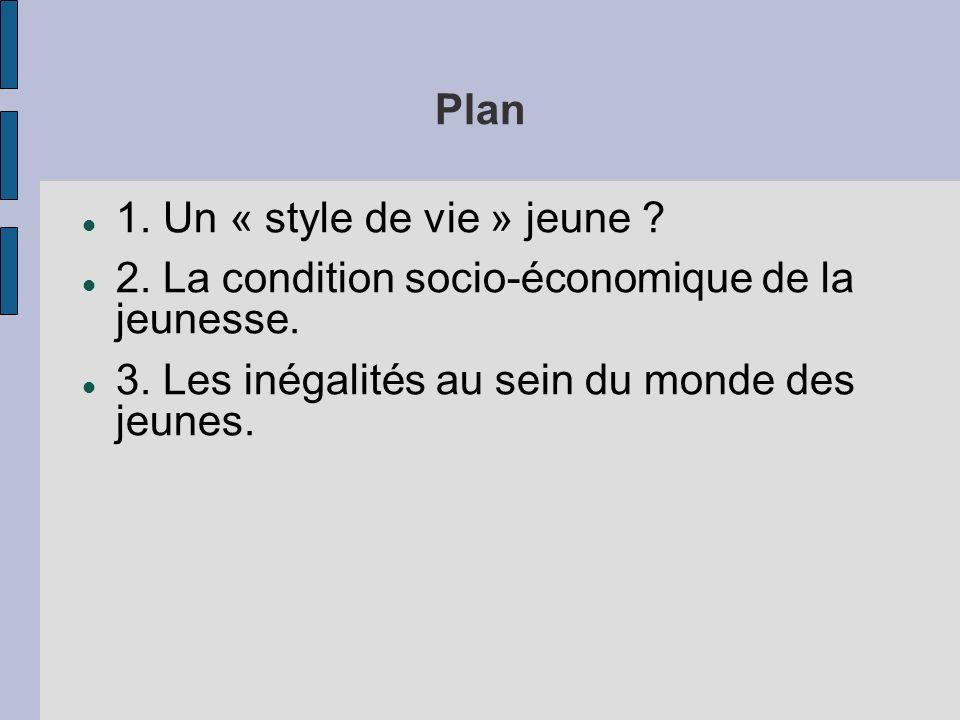 Plan 1. Un « style de vie » jeune . 2. La condition socio-économique de la jeunesse.