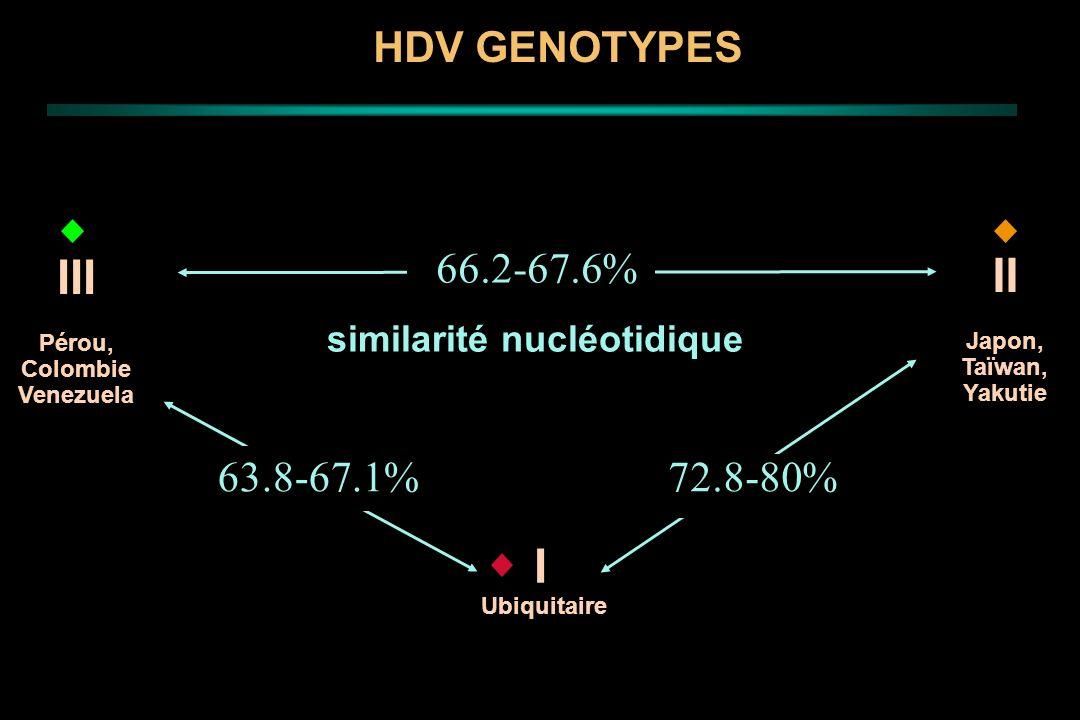 72.8-80%63.8-67.1% 66.2-67.6% similarité nucléotidique I Ubiquitaire III Pérou, Colombie Venezuela II Japon, Taïwan, Yakutie HDV GENOTYPES